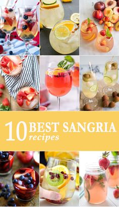 10 BEST SANGRIA RECIPES for every occasion. All flavors and colors of sangria; so beautiful and fun! Cheers! via @beckygallhardin