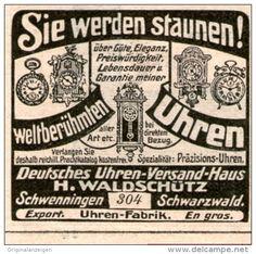 Original-Werbung/Inserat/ Anzeige 1907 - DEUTSCHES UHREN-VERSANDHAUS WALDSCHÜTZ / SCHWENNINGEN - ca. 45 X 45 mm