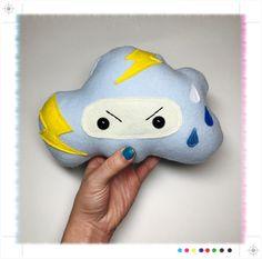 Sky blue storm cloud plush pillow // nursery bedding cushion // ninja storm lightning rain drop decor // baby blue yellow pastel by HelloKreepy on Etsy https://www.etsy.com/listing/496796602/sky-blue-storm-cloud-plush-pillow