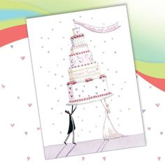 Lots of Love Wedding Cake greetings card from Phoenix Trading £1.75 each or £1.40 when buying 10 or more. Wedding