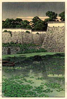 Fukuoka Castle Ruins by Kawase Hasui, 1940 (published by Watanabe Shozaburo)