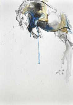 """Saatchi Art Artist Benedicte Gele; Drawing, """"Equine Nude 38t"""" #art"""