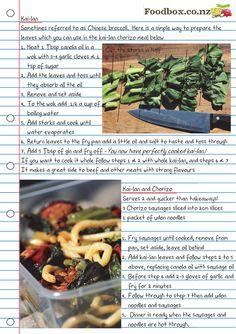 Kai-Lan and Chorizo - Foodbox Kai Lan, Delicious Restaurant, Canola Oil, Chorizo, Tossed, Wok, Simple Way, Green Beans, Broccoli