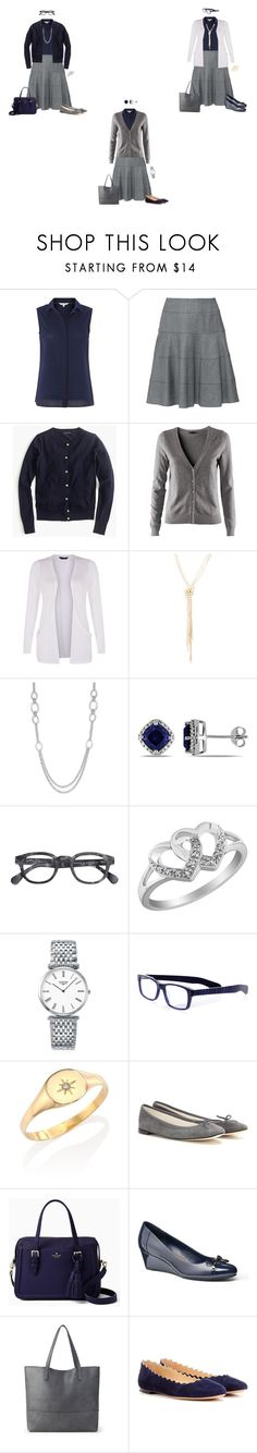 """Capsule Wardrobe: Navy Sleeveless Blouse and Grey Circle Skirt 1"" by tracy-gowen ❤ liked on Polyvore featuring White Stuff, Paule Ka, J.Crew, H&M, Saks Fifth Avenue, Alfani, Longines, eyebobs, Jacquie Aiche and Repetto"