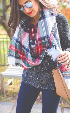 #fall #fashion / tartan scarf + gray knit