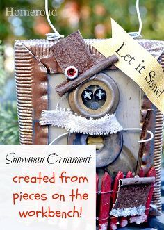 creating a snowman christmas ornament from scraps, christmas decorations, crafts, repurposing upcycling, seasonal holiday decor