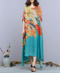 Ethnic Style Flowers Print Silk Maxi Dress Asymmetric Designer Dress #dress #designr #asymmetric #silk #maxi #fashion #flowers #print