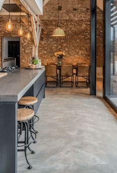 Polished Concrete Kitchen, Concrete Kitchen Floor, Polished Concrete Flooring, Brick Flooring, Kitchen Flooring, Plywood Floors, Concrete Lamp, Stained Concrete Flooring, Laminate Flooring