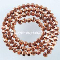 95Pcs-Natural-Ancient-Copper-Hematite-Bicone-Lantern-Loose-Beads-4x4mm-G1552