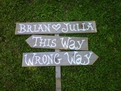 DIY....Wedding Sign ALICE IN WONDERLAND This Way Wrong Way Sign Party Signs Yard signs Directional Arrow Signs With Stake. Wooden Signs. $95.00, via Etsy.