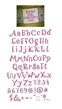 Tickled Pink Embroidery Font