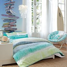 Teen-bedroom-blue-green-coastal-beach-style_large  love the sign idea!