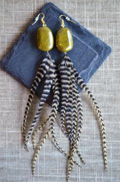 Handmade Feather Earrings from Wilderman's Etsy Shop #greenbeads #featherearrings #feathers #boho #bohemian #hippie #mountainwear #handmade #jewelry #earrings #festivalwear #roosterfeathers #etsy #forsale #coloradostyle #custom  www.etsy/shop/wildermans