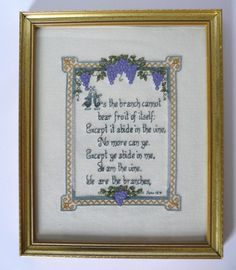 Handmade Finished Cross Stitched Embroidered Bible Verse I Am The Vine John 15:4 #Unbranded