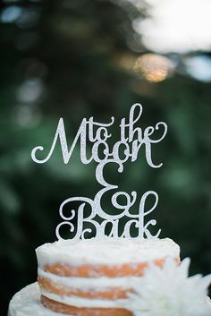 """""""to the moon and back"""" wedding cake topper by CutsOfConfetti"""