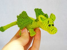 amigurumi dragon crochet dragon stuffed animal dragon Knitted dragon kawaii crochet art doll Jungle animal  little dragon toy (14.00 USD) by innakozachuk