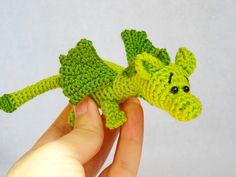 amigurumi dragon crochet dragon stuffed animal dragon Knitted dragon kawaii crochet art doll Jungle animal  little dragon toy (14.00 USD) by innakozachuk