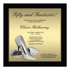 Black Gold High Heels Womans 50th Birthday Custom Invitation Party Invitations 75th