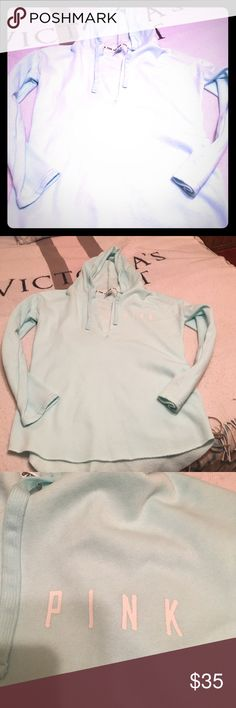VS PINK HOODIE! Super cute oversized hoodie! EXCELLENT CONDITION! Like a teal color with white lettering! FEEL FREE TO ASK ANY QUESTIONS! PINK Victoria's Secret Tops Sweatshirts & Hoodies