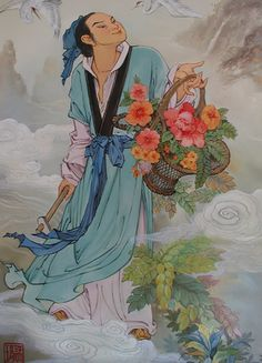 Han Xiangzi miembro de los ocho inmortales. Fue también un erudito que tuvo por maestro a Han Yu, un famoso estadista y poeta de la dinastía Tang del que se decía era su tío, Xiangzi no tardo en superarlo.
