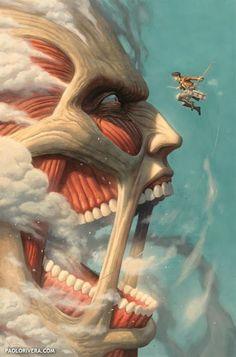 Eren vs Titan Colosal. Attack on Titan by Paolo Rivera *
