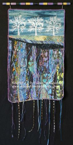 """Fiber Art Quilts-Landscape - by Eileen Williams, """"Rooted 2 """" 19 x 12 inches Sold"""