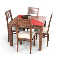 Arabia Square-Zella 4 Seat Dining Table Set (Teak Finish)