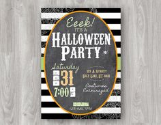 """""""Eeek! It's a Halloween Party!"""" Invitation Printable - Only $10 Available on Etsy! Super Cute - Black and white background with chalkboard."""