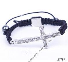 Cross Pave Rhinestone Beads Crystal Balls Charms Bracelet Cords Adjustable