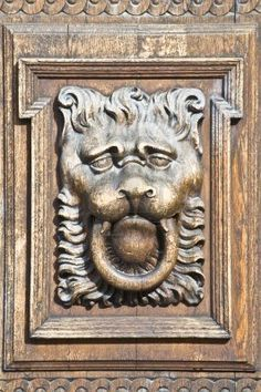 part of an old wooden door with the face of a lion