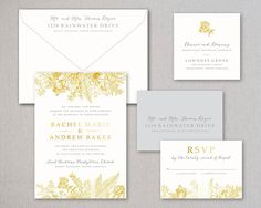This listing is for ONE INVITATION SAMPLE of the Foil and Digitally Printed Society Street Suite . This suite is gold foil stamped and digitally printed suite printed on 118# (1ply) luxurious textured paper and the gold foil deeply pressed on our vintage press. WHAT DOES THE SAMPLE INCLUDE? - One FOIL + digitally printed invitation (5.25x 7.25 in) - One FOIL + digitally printed reply card (3.5 x 4.875 in) - One invitation envelope (5.5 x 7.5 in) with digitally printed return address - One…