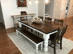 James James: 7 L x 37 W x 30 H Baluster Table with a traditional tabletop stained Dark Walnut with an Ivory painted base. Pictured with a Dianne Bench and Henry Dining Chairs. Farmhouse Dining, Dining, Kitchen Decor, Dining Table, Home Decor, Dining Room Decor, Dining Room Table, Dining Chairs, Farmhouse Table