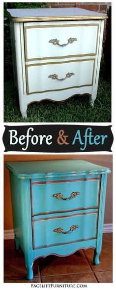 Turqouise French Nightstand - Before & After from Facelift Furniture - liposuction plastic surgery Reclaimed Furniture, Distressed Furniture, Repurposed Furniture, Antique Furniture, Refinished Furniture, French Furniture, French Desk, Dressers For Sale, Before And After Diy