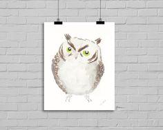 Owl Art Print Lovely Owl Bird Print 5x7 Watercolor Painting Print Wall Decor