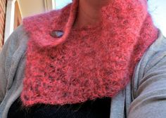 Red Mohair Button Cowl by thepinkwoobie on Etsy, $30.00