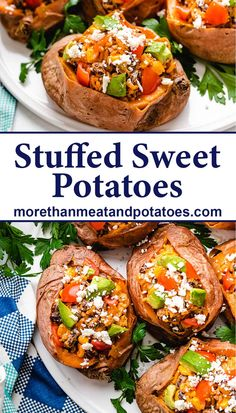 These black bean stuffed sweet potatoes are made with onions, bell peppers, rice, beans, corn, queso fresco, and mixture of Tex-Mex spices. #morethanmeatandpotatoes