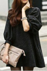 Stylish Jewel Neck Half Sleeves Solid Color Long T-Shirt For Women
