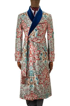 Artichoke Embroidery Gown Aqua/turquoise | £2,500.00 | The exquisite silk fabric in this gown is a silk embroidery inspired by William Morris's own design 'Artichoke' from 1877, it has repeating patterns of large traditional motifs, illustrating his preoccupation and love of near Eastern and Italian woven silks and velvets.