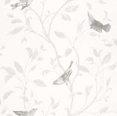 Tendresse wallpaper 798975 by Rasch. Delicate silvery birds flutter amongst leafy branches on a white background adding charm to this pretty wallpaper. Wallpaper available from Guthrie Bowron.