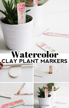 Make some watercolor clay plant markers as a perfect Mother's Day or end of the year teacher gift. This is such an easy polymer clay tutorial!  #mothersdaygift #clayplantmarkers #polymerclaycraft #homemadegingerblog