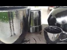 Como fazer acabamento de vasos de cimento. - YouTube
