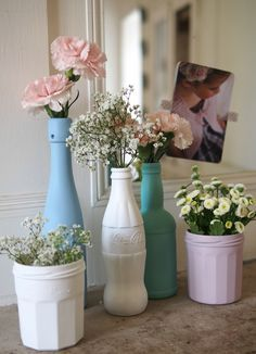 spray paint/paint bottles/jars in a matte finish to decorate.
