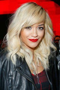Check out over 40 sexy, stylish fringe ideas! WE love Rita Ora side-sweeping fringe! hair, hairstyles, new hairstyles, celebrity hairstyles, fringes, celebrity fringes