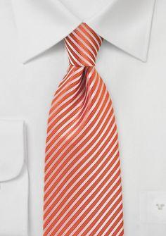 Herrenkrawatte Streifenstruktur kupfer-orange