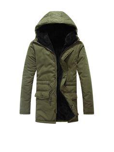 Hooded Fleece Lined Drawstring Flap Pocket Plain Men Coat