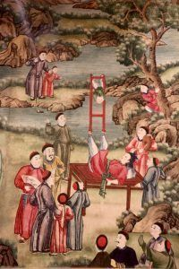 Chinese New Year wallpaper - woman balancing child on a ladder Silk Wallpaper, Hand Painted Wallpaper, Metallic Wallpaper, China For Kids, Chinese New Year Wallpaper, Wide World, Chinese Culture, Chinese Painting, Chinoiserie