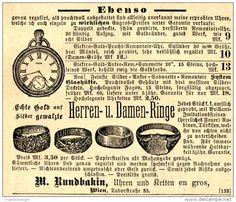 Original-Werbung/ Anzeige 1897 - UHREN / KETTEN / RINGE - RUNDBAKIN - WIEN…
