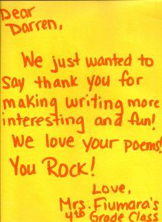 Thank you Mrs. Fiumara's 4th grade class - YOU ROCK MORE!!!