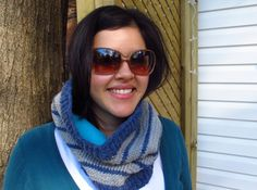 Super cozy striped knitted cowl, lined with fleece; free pattern, Kiku Corner