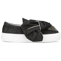 183eca58371 Joshua Sanders bow denim slip-on sneakers (4 990 UAH) ❤ liked on Polyvore  featuring shoes